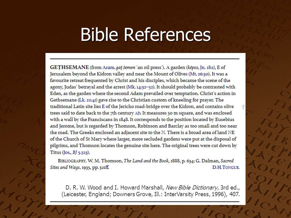 Bible References D. R. W. Wood and I.