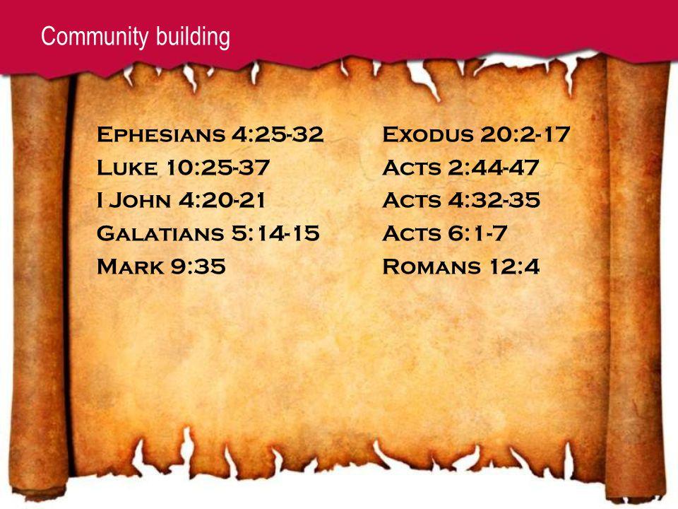 Community building Exodus 20:2-17 Acts 2:44-47 Acts 4:32-35 Acts 6:1-7 Romans 12:4 Ephesians 4:25-32 Luke 10:25-37 I John 4:20-21 Galatians 5:14-15 Mark 9:35