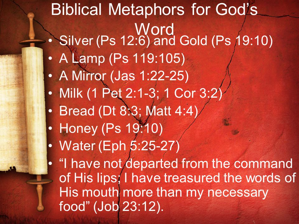 Biblical Metaphors for God's Word Silver (Ps 12:6) and Gold (Ps 19:10) A Lamp (Ps 119:105) A Mirror (Jas 1:22-25) Milk (1 Pet 2:1-3; 1 Cor 3:2) Bread (Dt 8:3; Matt 4:4) Honey (Ps 19:10) Water (Eph 5:25-27) I have not departed from the command of His lips; I have treasured the words of His mouth more than my necessary food (Job 23:12).