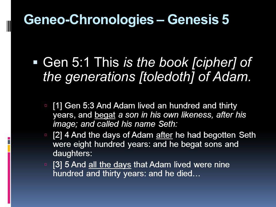 Geneo-Chronologies – Genesis 5  Gen 5:1 This is the book [cipher] of the generations [toledoth] of Adam.