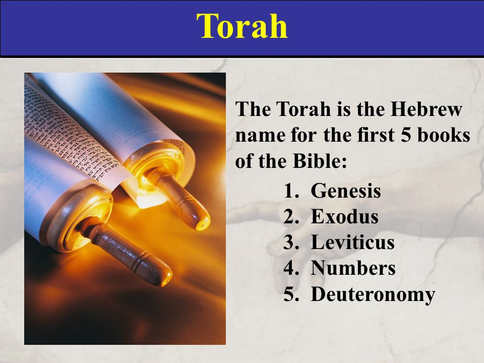 Torah The Torah is the Hebrew name for the first 5 books of the Bible: 1.Genesis 2.Exodus 3.Leviticus 4.Numbers 5.Deuteronomy