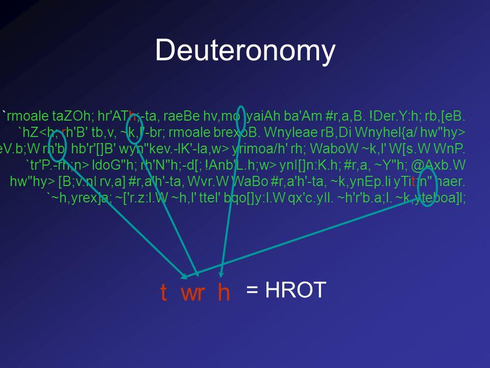 Deuteronomy `rmoale taZOh; hr ATh;-ta, raeBe hv,mo lyaiAh ba Am #r,a,B.
