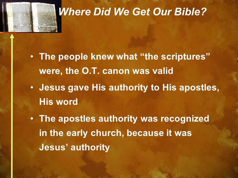 Where Did We Get Our Bible. The people knew what the scriptures were, the O.T.