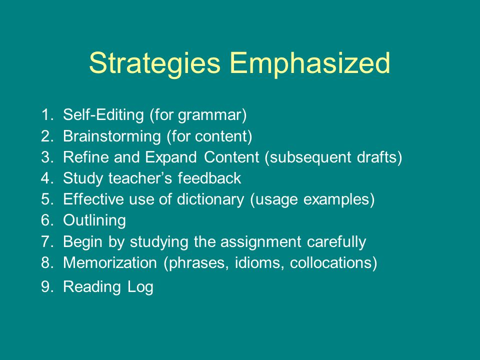 Strategies Emphasized 1. Self-Editing (for grammar) 2. Brainstorming (for content) 3. Refine and Expand Content (subsequent drafts) 4. Study teacher's