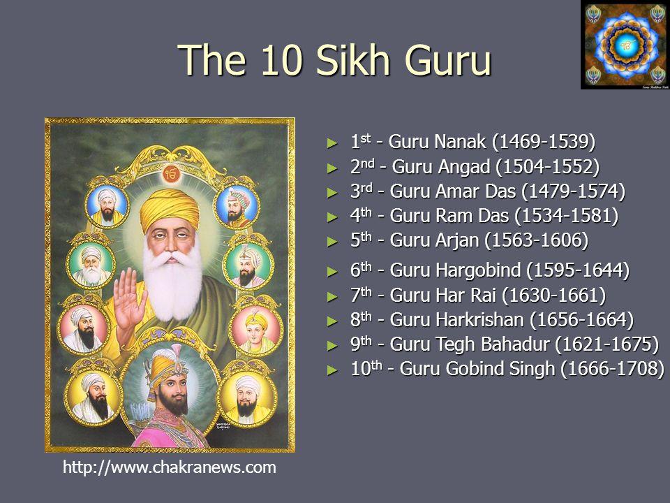 The 10 Sikh Guru ► 1 st - Guru Nanak (1469-1539) ► 2 nd - Guru Angad (1504-1552) ► 3 rd - Guru Amar Das (1479-1574) ► 4 th - Guru Ram Das (1534-1581) ► 5 th - Guru Arjan (1563-1606) ► 6 th - Guru Hargobind (1595-1644) ► 7 th - Guru Har Rai (1630-1661) ► 8 th - Guru Harkrishan (1656-1664) ► 9 th - Guru Tegh Bahadur (1621-1675) ► 10 th - Guru Gobind Singh (1666-1708) http://www.chakranews.com