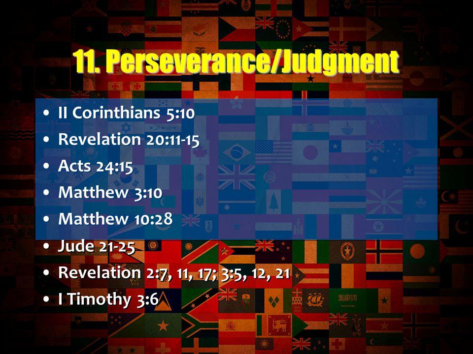 II Corinthians 5:10 Revelation 20:11-15 Acts 24:15 Matthew 3:10 Matthew 10:28 Jude 21-25 Revelation 2:7, 11, 17; 3:5, 12, 21 I Timothy 3:6 II Corinthians 5:10 Revelation 20:11-15 Acts 24:15 Matthew 3:10 Matthew 10:28 Jude 21-25 Revelation 2:7, 11, 17; 3:5, 12, 21 I Timothy 3:6 11.