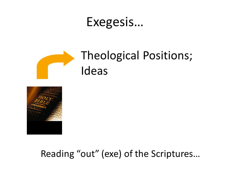Exegesis… Theological Positions; Ideas Reading out (exe) of the Scriptures…