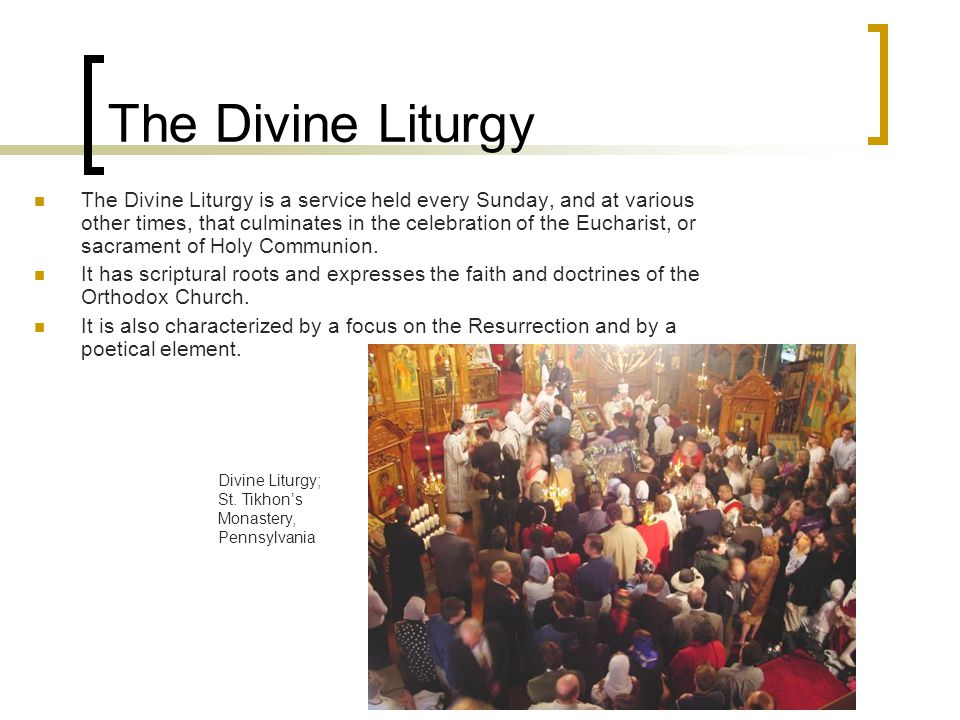 The Divine Liturgy The Divine Liturgy is a service held every Sunday, and at various other times, that culminates in the celebration of the Eucharist, or sacrament of Holy Communion.