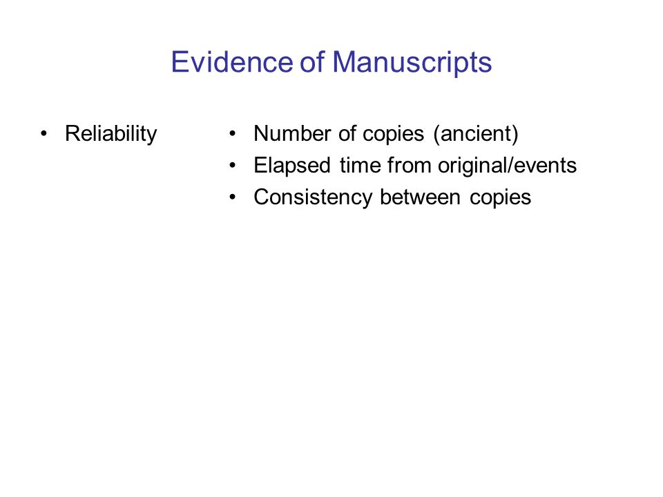 Evidence of Manuscripts ReliabilityNumber of copies (ancient) Elapsed time from original/events Consistency between copies