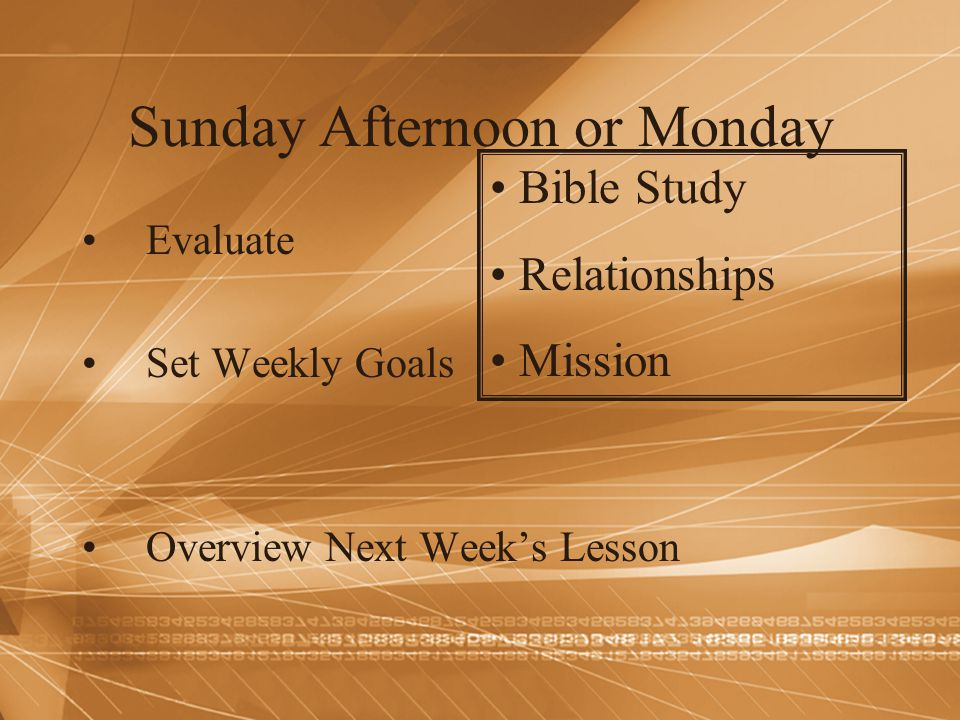 Sunday Afternoon or Monday Evaluate Set Weekly Goals Overview Next Week's Lesson Bible Study Relationships Mission