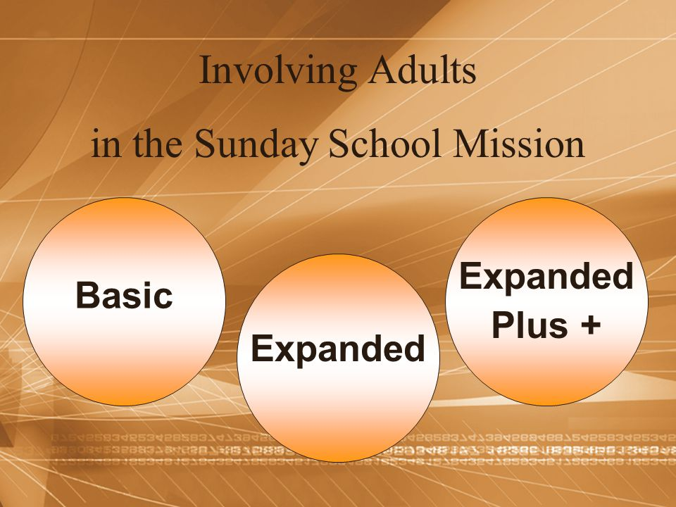 Involving Adults in the Sunday School Mission Basic Expanded Plus +