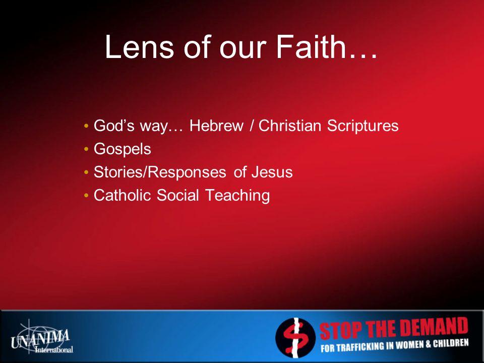 Lens of our Faith… God's way… Hebrew / Christian Scriptures Gospels Stories/Responses of Jesus Catholic Social Teaching