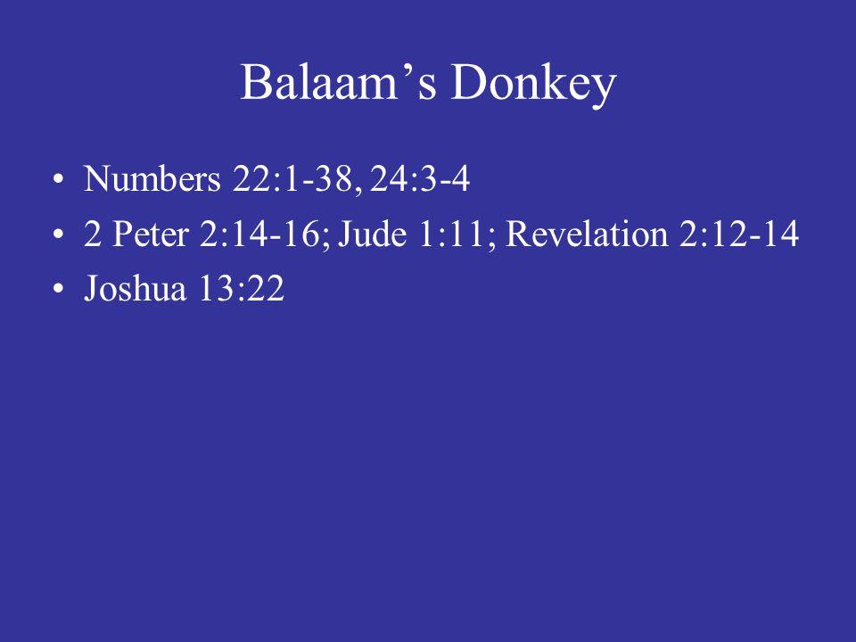 Balaam's Donkey Numbers 22:1-38, 24:3-4 2 Peter 2:14-16; Jude 1:11; Revelation 2:12-14 Joshua 13:22