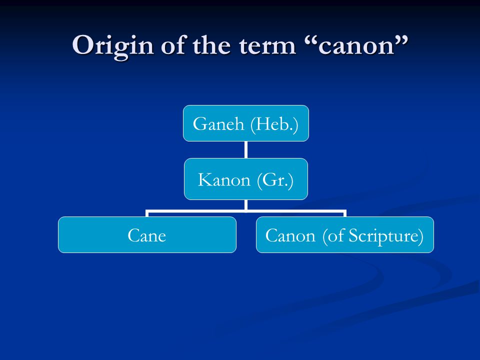 Ganeh (Heb.) Kanon (Gr.) Cane Canon (of Scripture) Origin of the term canon