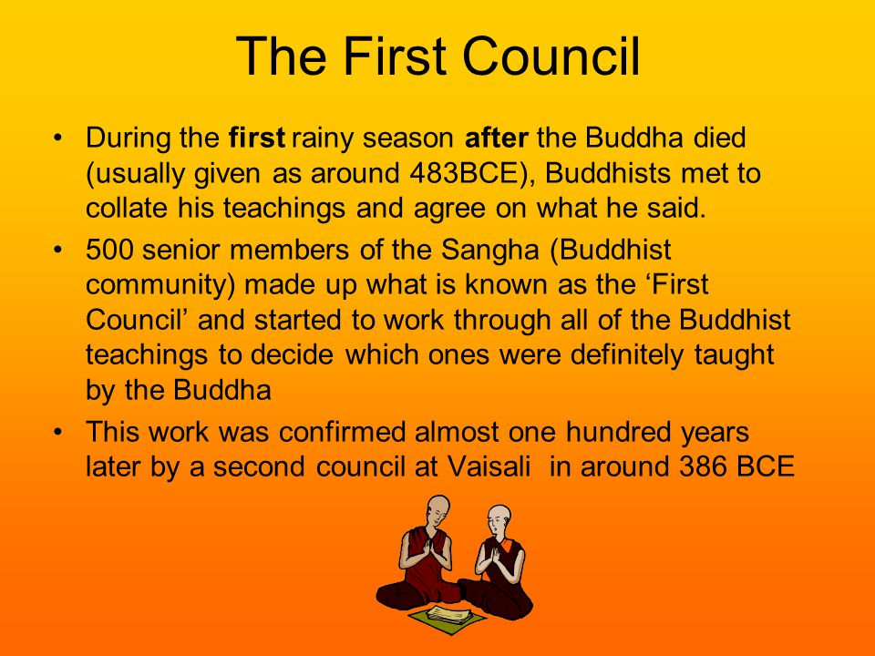 The First Council During the first rainy season after the Buddha died (usually given as around 483BCE), Buddhists met to collate his teachings and agree on what he said.