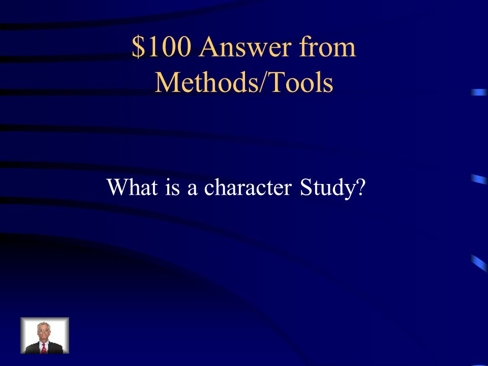 $100 Question from Methods/Tools A study that investigates biographical details of a person through the text of the Bible.