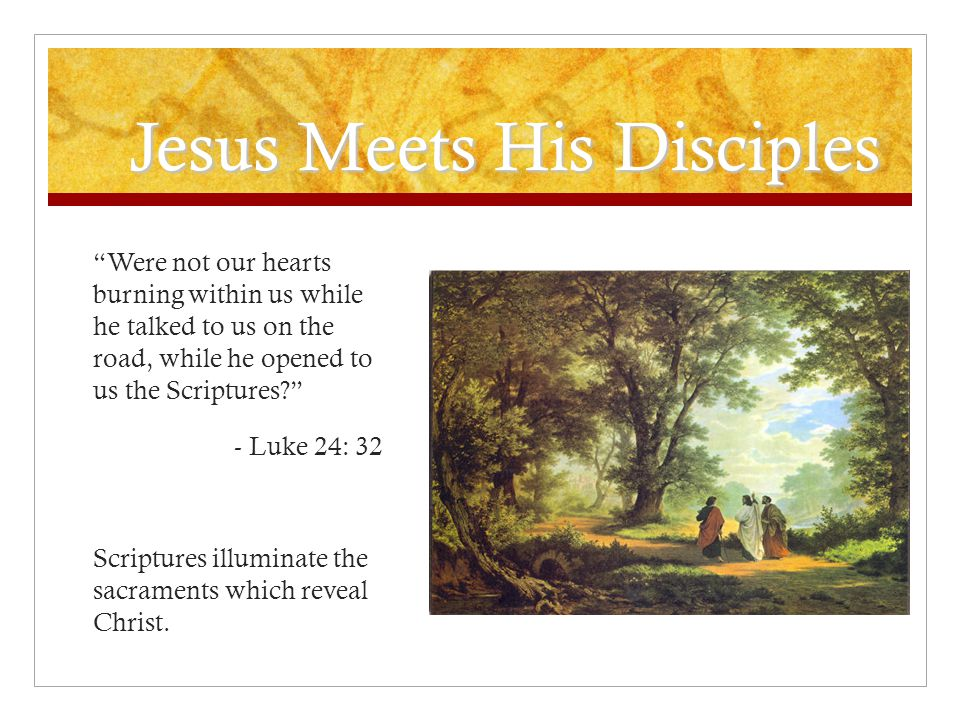 Jesus Meets His Disciples Were not our hearts burning within us while he talked to us on the road, while he opened to us the Scriptures? - Luke 24: 32 Scriptures illuminate the sacraments which reveal Christ.