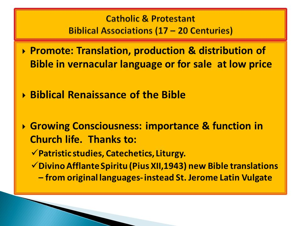  Promote: Translation, production & distribution of Bible in vernacular language or for sale at low price  Biblical Renaissance of the Bible  Growing Consciousness: importance & function in Church life.