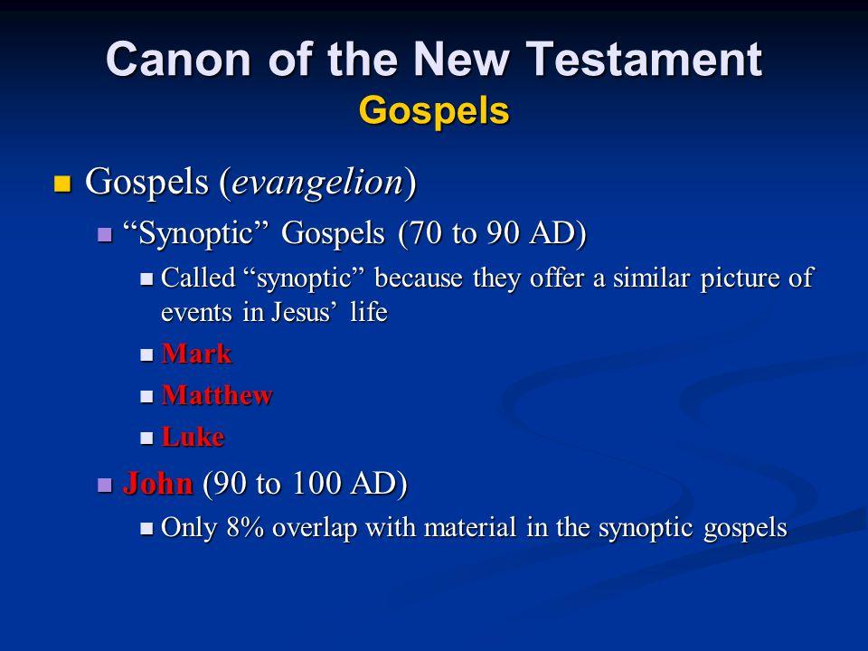 "Canon of the New Testament Gospels Gospels (evangelion) Gospels (evangelion) ""Synoptic"" Gospels (70 to 90 AD) ""Synoptic"" Gospels (70 to 90 AD) Called"
