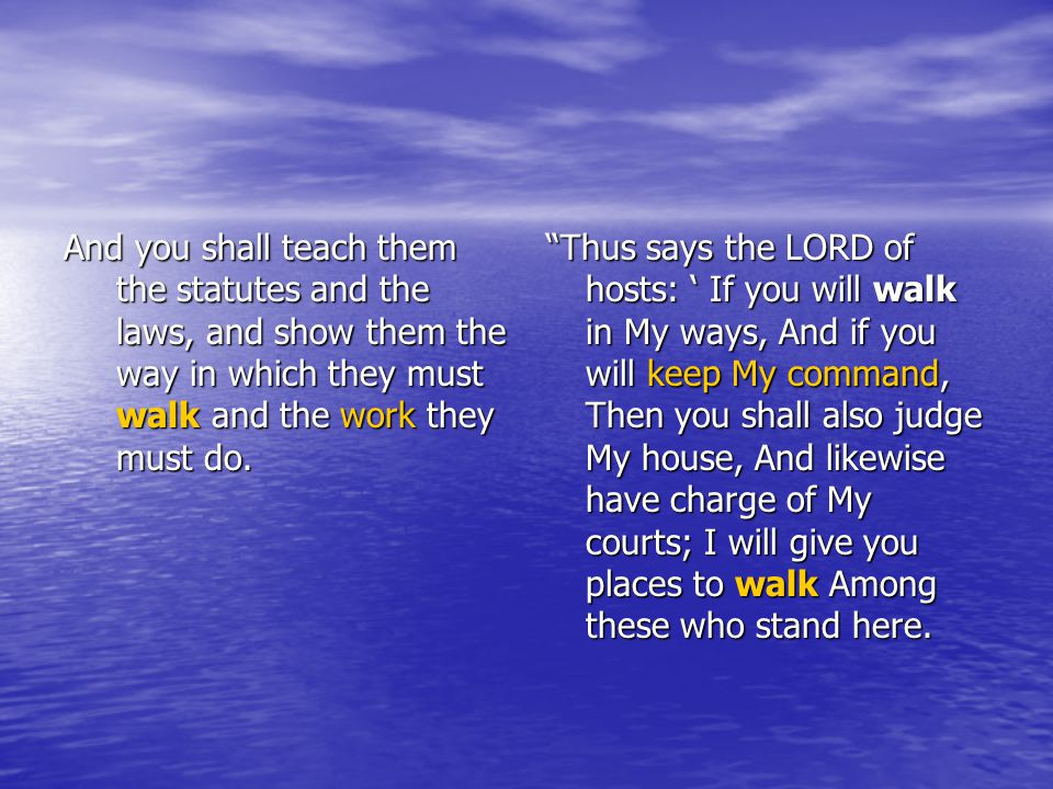And you shall teach them the statutes and the laws, and show them the way in which they must walk and the work they must do.