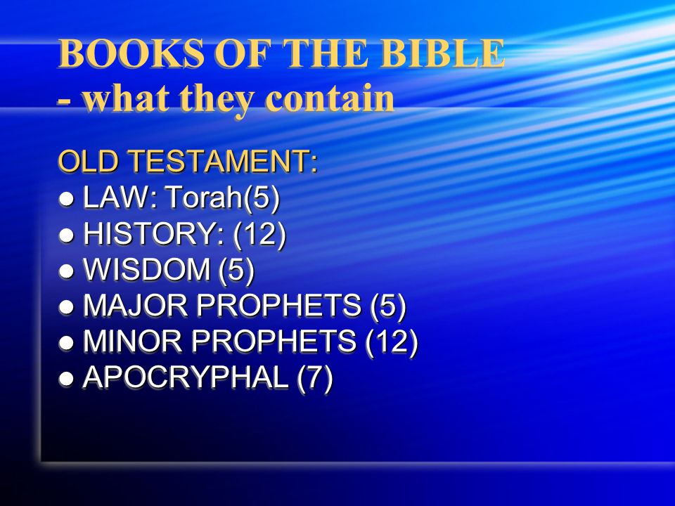 BOOKS OF THE BIBLE - what they contain NEW TESTAMENT: GOSPELS (4) GOSPELS (4) HISTORY/ACTS(1) HISTORY/ACTS(1) EPISTLES TO CHURCHES (9) EPISTLES TO CHURCHES (9) EPISTLES TO FRIENDS (4) EPISTLES TO FRIENDS (4) GENERAL EPISTLES (9) GENERAL EPISTLES (9) NEW TESTAMENT: GOSPELS (4) GOSPELS (4) HISTORY/ACTS(1) HISTORY/ACTS(1) EPISTLES TO CHURCHES (9) EPISTLES TO CHURCHES (9) EPISTLES TO FRIENDS (4) EPISTLES TO FRIENDS (4) GENERAL EPISTLES (9) GENERAL EPISTLES (9)