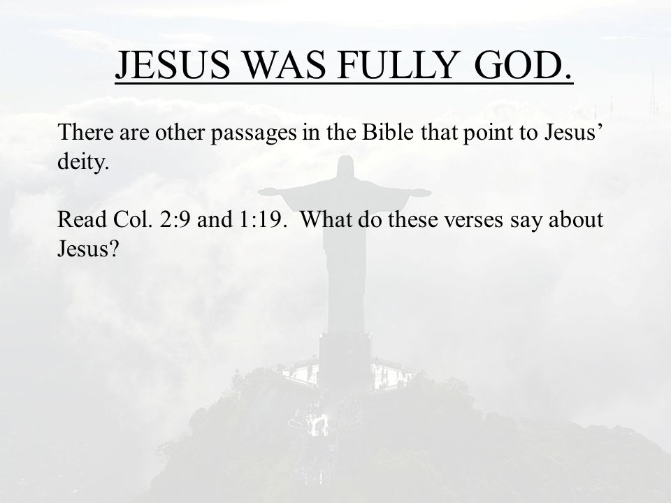 JESUS WAS FULLY GOD. There are other passages in the Bible that point to Jesus' deity. Read Col. 2:9 and 1:19. What do these verses say about Jesus?