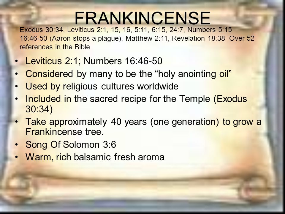 FRANKINCENSE Leviticus 2:1; Numbers 16:46-50 Considered by many to be the holy anointing oil Used by religious cultures worldwide Included in the sacred recipe for the Temple (Exodus 30:34) Take approximately 40 years (one generation) to grow a Frankincense tree.