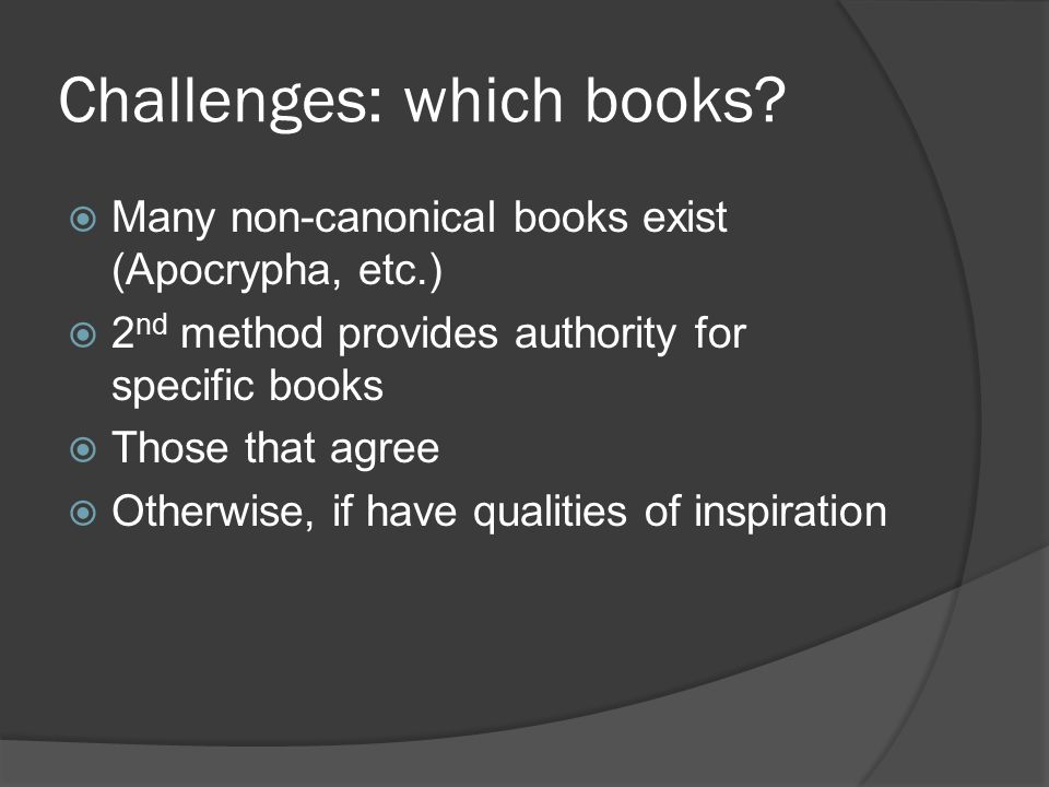 Challenges: which books.