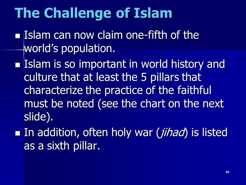 80 The Challenge of Islam Islam can now claim one-fifth of the world's population. Islam can now claim one-fifth of the world's population. Islam is s