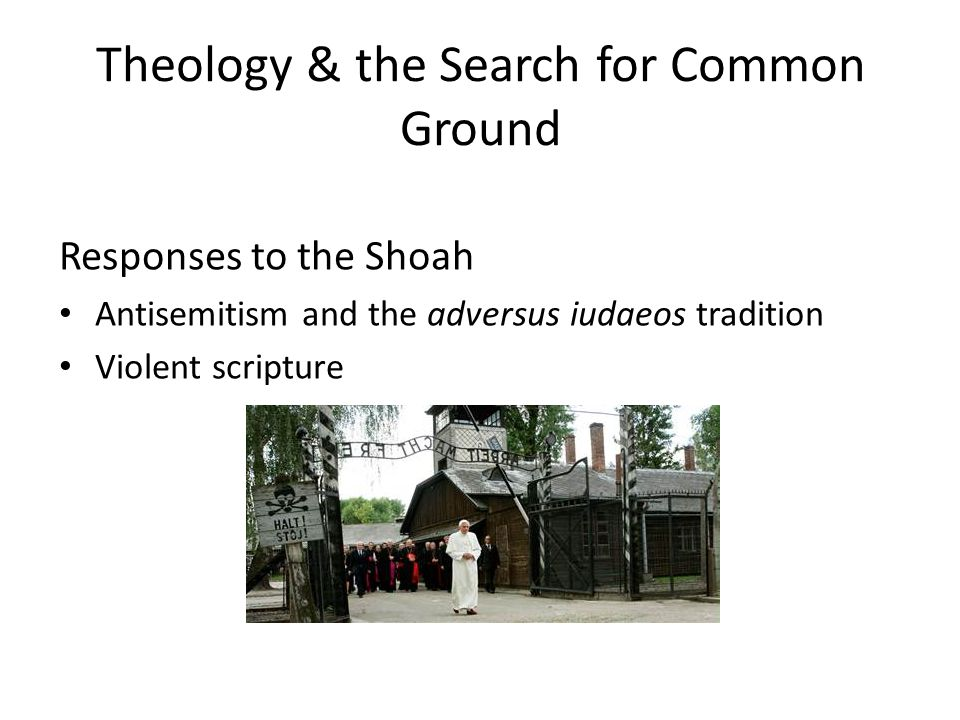 Theology & the Search for Common Ground Responses to the Shoah Antisemitism and the adversus iudaeos tradition Violent scripture