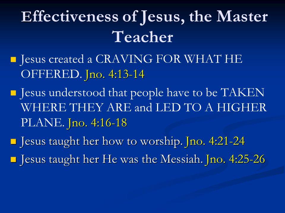 E E ffectiveness of Jesus, the Master Teacher Jno.