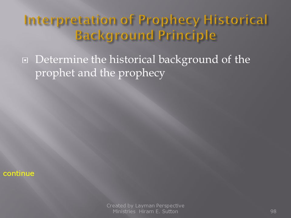  Determine the historical background of the prophet and the prophecy Created by Layman Perspective Ministries Hiram E. Sutton98 continue