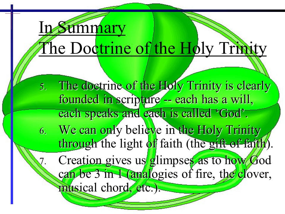 20 In Summary The Doctrine of the Holy Trinity 5.