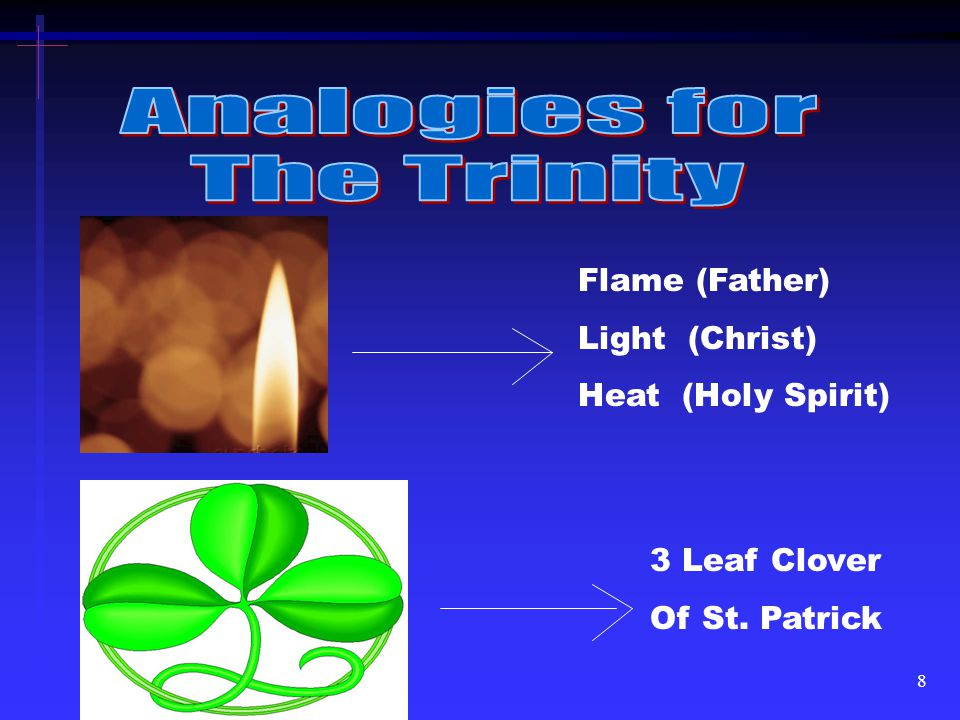 8 Flame (Father) Light (Christ) Heat (Holy Spirit) 3 Leaf Clover Of St. Patrick