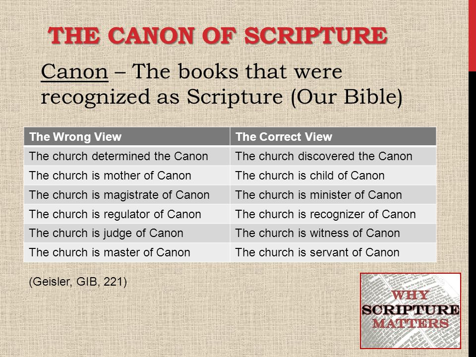 THE CANON OF SCRIPTURE Canon – The books that were recognized as Scripture (Our Bible) The Wrong ViewThe Correct View The church determined the CanonThe church discovered the Canon The church is mother of CanonThe church is child of Canon The church is magistrate of CanonThe church is minister of Canon The church is regulator of CanonThe church is recognizer of Canon The church is judge of CanonThe church is witness of Canon The church is master of CanonThe church is servant of Canon (Geisler, GIB, 221)