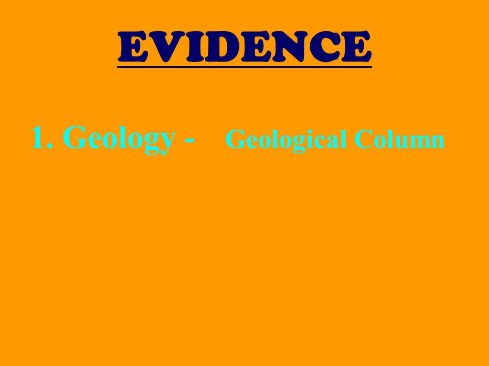 EVIDENCE 1.Geology - Geological Column