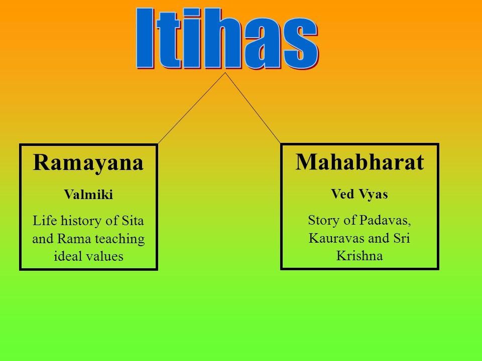 Ramayana Valmiki Life history of Sita and Rama teaching ideal values Mahabharat Ved Vyas Story of Padavas, Kauravas and Sri Krishna