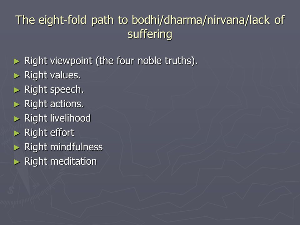 The eight-fold path to bodhi/dharma/nirvana/lack of suffering ► Right viewpoint (the four noble truths).