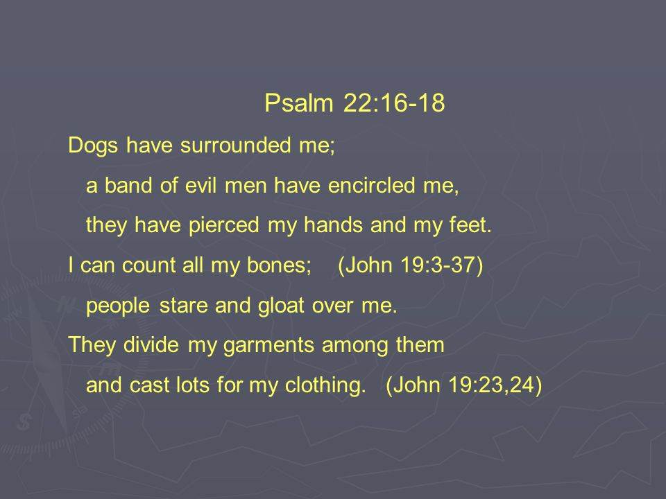 Psalm 22:16-18 Dogs have surrounded me; a band of evil men have encircled me, they have pierced my hands and my feet.