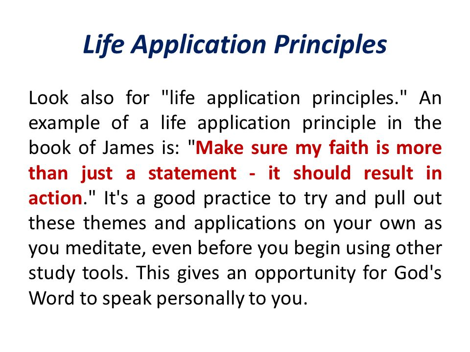 Life Application Principles Look also for