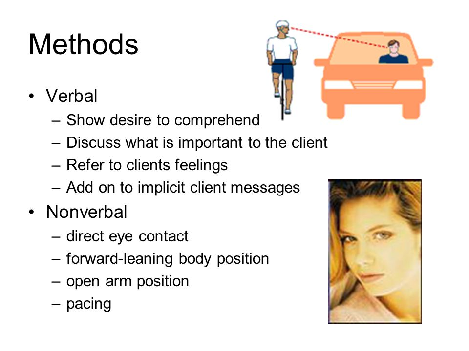 Methods Verbal –Show desire to comprehend –Discuss what is important to the client –Refer to clients feelings –Add on to implicit client messages Nonverbal –direct eye contact –forward-leaning body position –open arm position –pacing