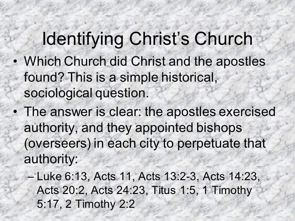 Identifying Christ's Church Which Church did Christ and the apostles found.