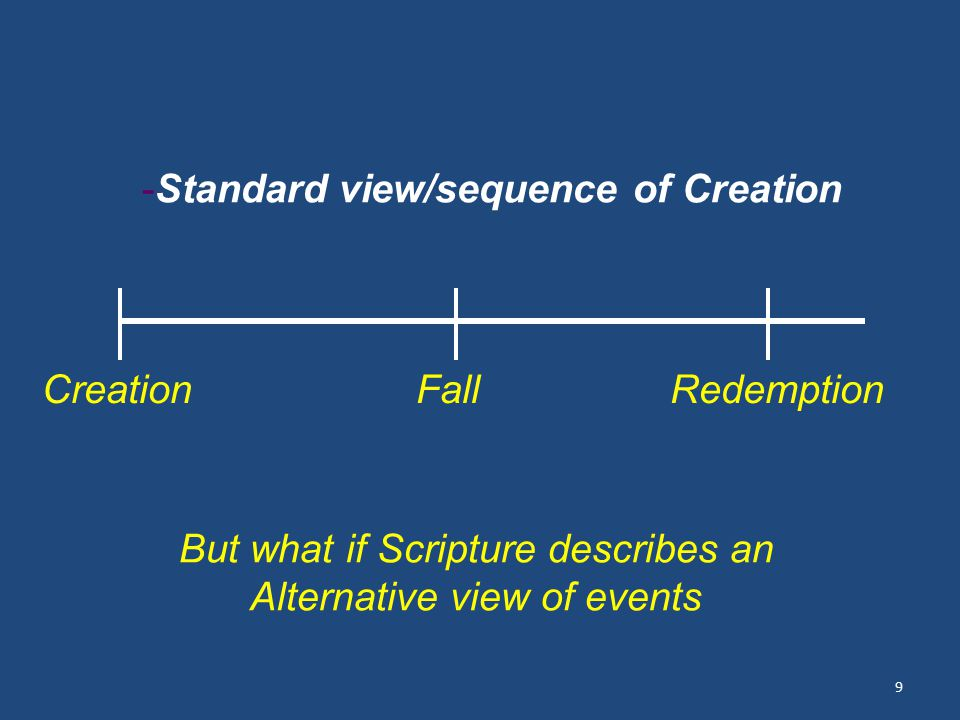 9 Creation Fall Redemption But what if Scripture describes an Alternative view of events -Standard view/sequence of Creation