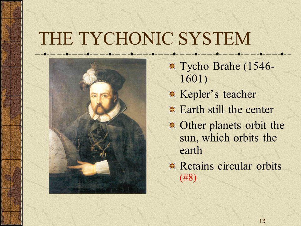 13 THE TYCHONIC SYSTEM Tycho Brahe (1546- 1601) Kepler's teacher Earth still the center Other planets orbit the sun, which orbits the earth Retains circular orbits (#8)