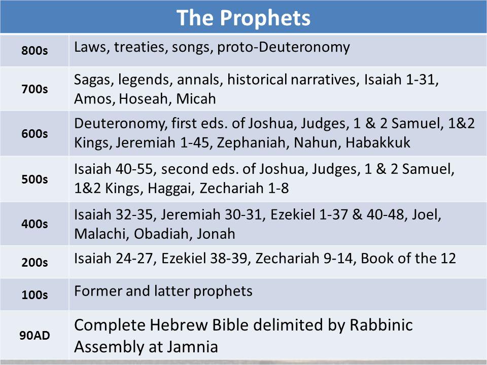 The Prophets 800s Laws, treaties, songs, proto-Deuteronomy 700s Sagas, legends, annals, historical narratives, Isaiah 1-31, Amos, Hoseah, Micah 600s Deuteronomy, first eds.