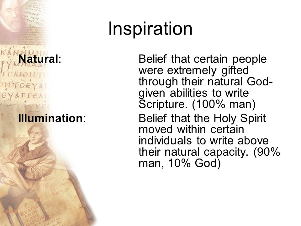 Inspiration Natural: Belief that certain people were extremely gifted through their natural God- given abilities to write Scripture.