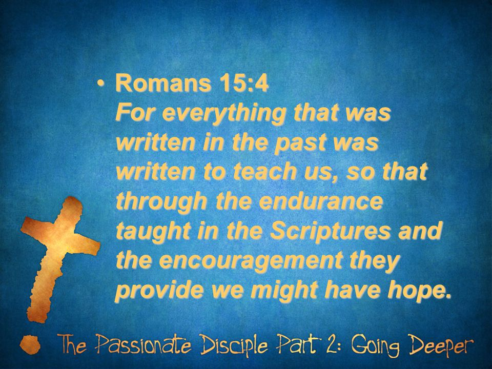Romans 15:4 For everything that was written in the past was written to teach us, so that through the endurance taught in the Scriptures and the encouragement they provide we might have hope.Romans 15:4 For everything that was written in the past was written to teach us, so that through the endurance taught in the Scriptures and the encouragement they provide we might have hope.
