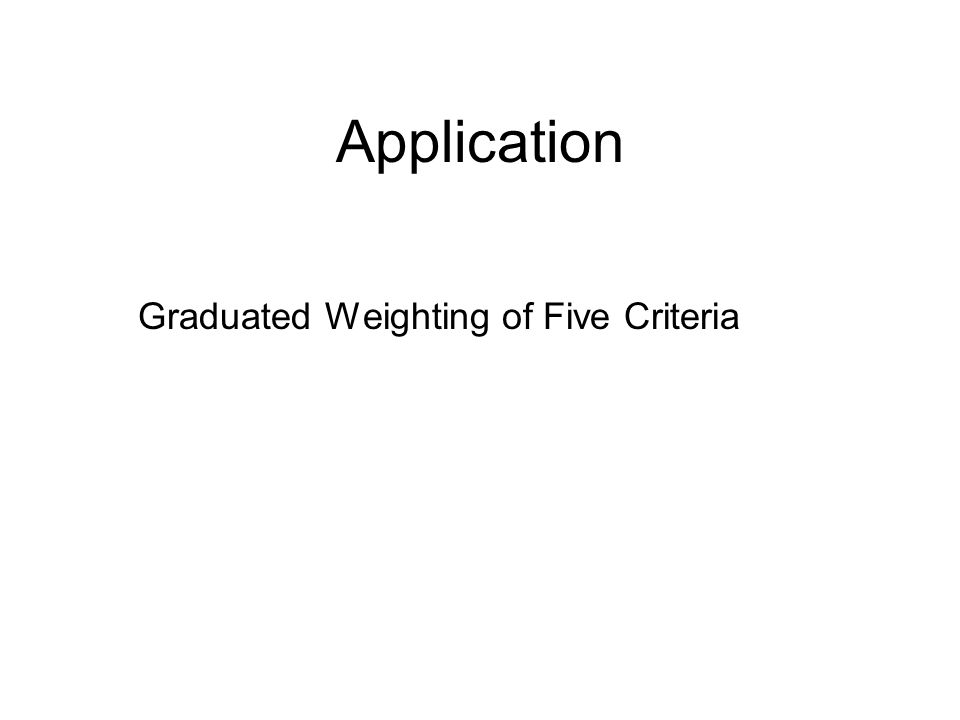 Application Graduated Weighting of Five Criteria
