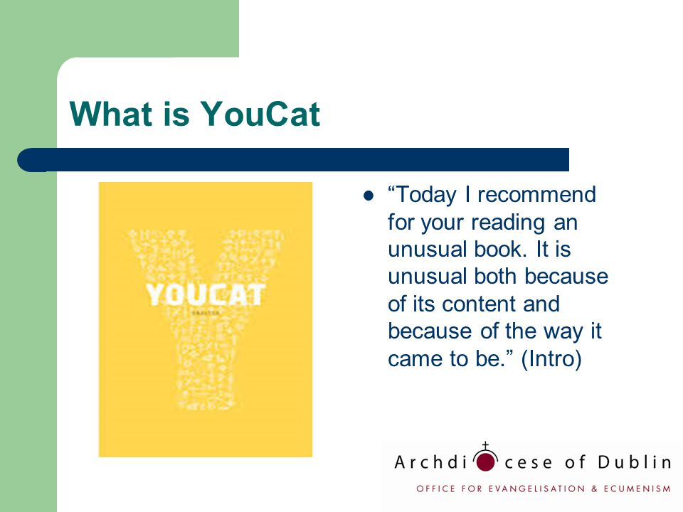 "What is YouCat ""Today I recommend for your reading an unusual book. It is unusual both because of its content and because of the way it came to be."" ("
