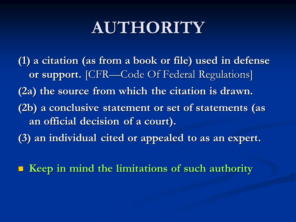 AUTHORITY Power and Right to influence or command: Any Or All Behavior.